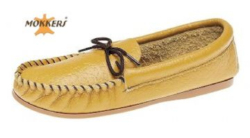 Men's Leather Moccasins Slippers & Hard Sole TAN